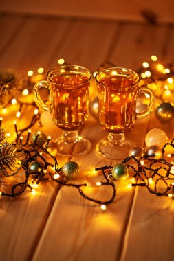Christmas drinks on the decorated table