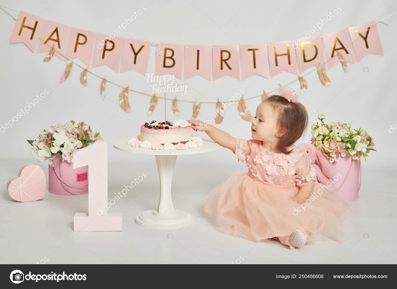 Sensational Girl Birthday Cake Year Old Baby Photo Session Stock Photo Birthday Cards Printable Opercafe Filternl