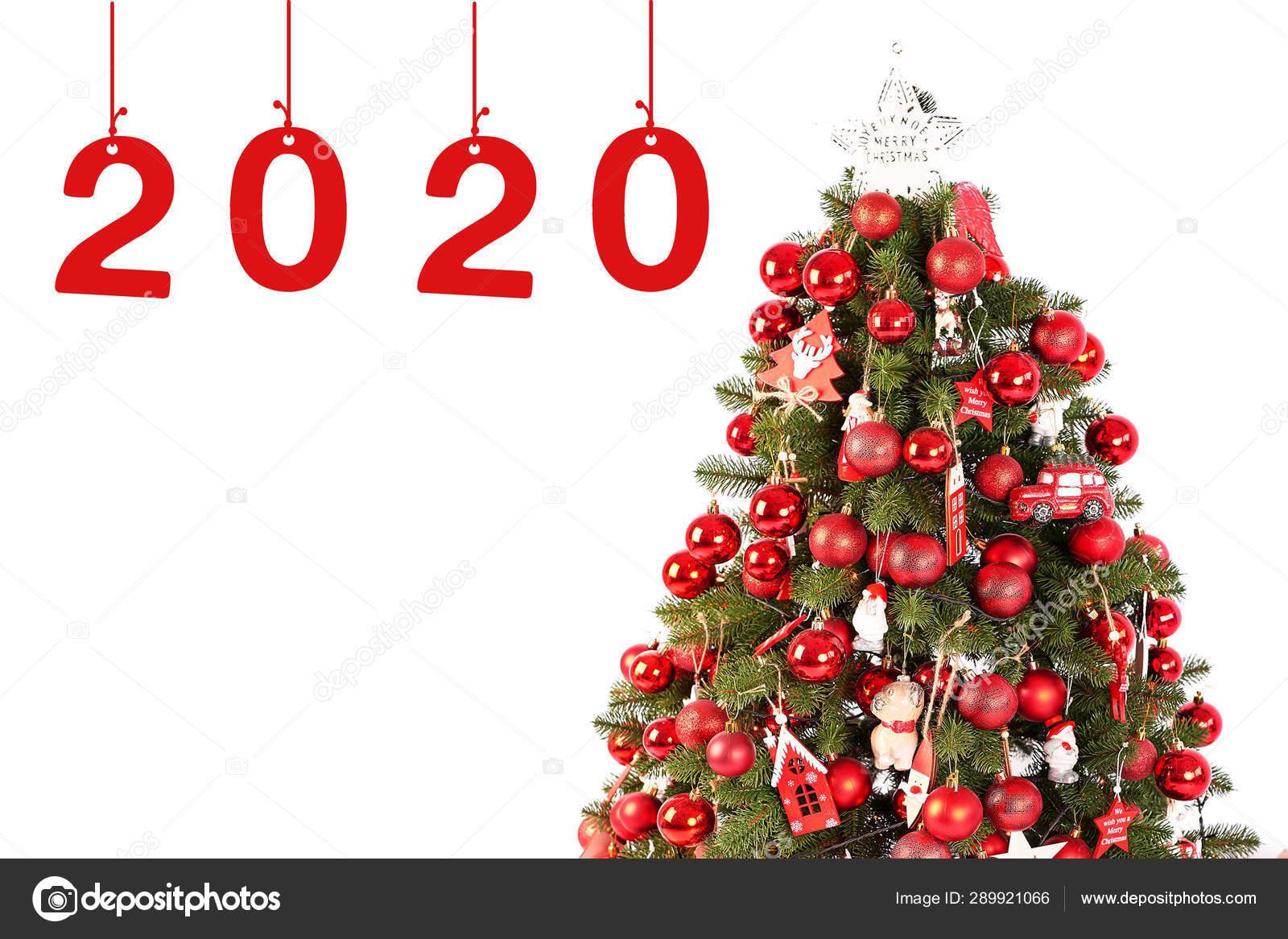 Christmas Card Template 2020 Year Christmas Tree White Background Isolated Stock Photo C Yarovoy Aleksandr 289921066