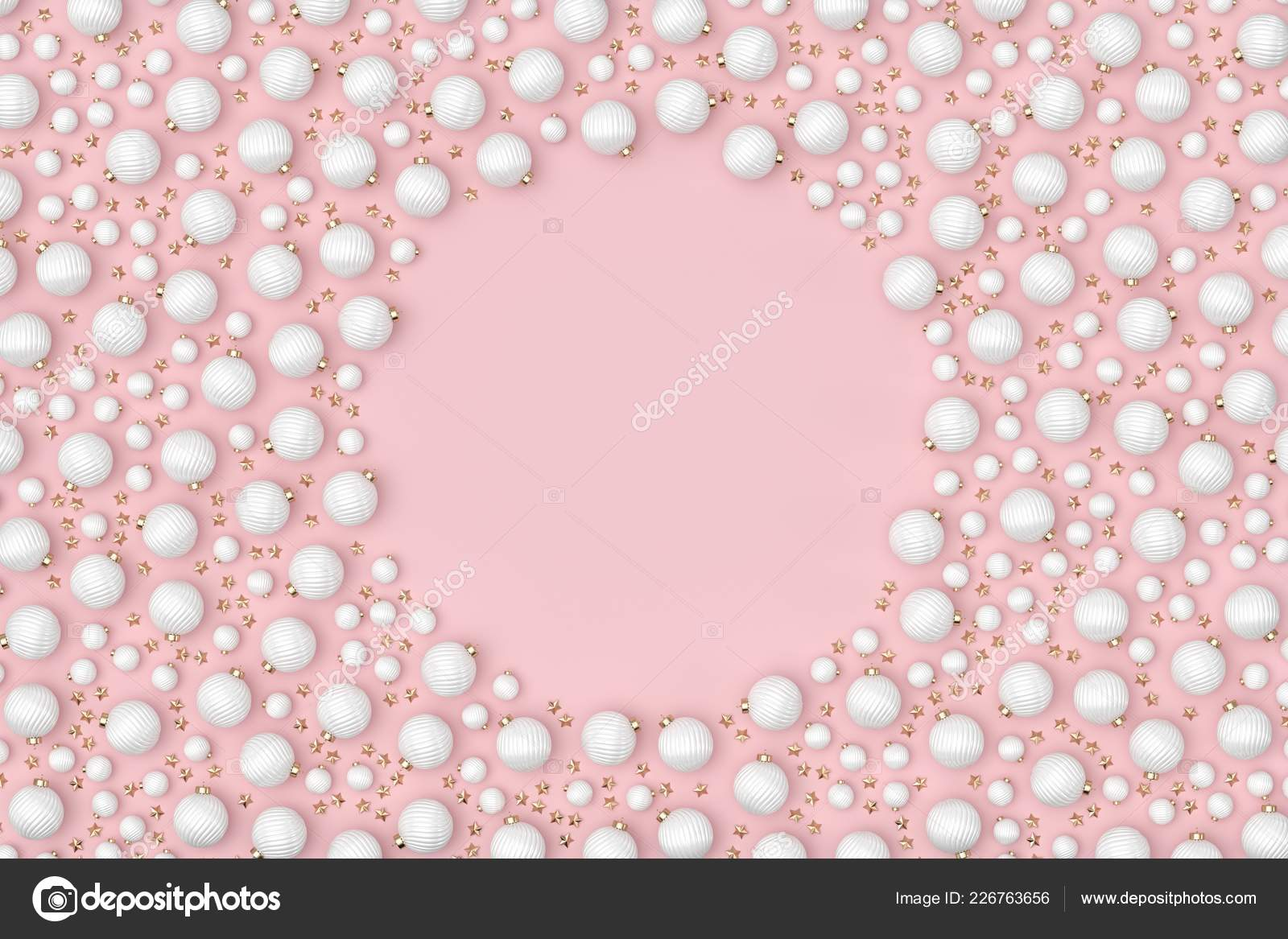 Scattered White Christmas Ornaments Pink Background Frame Stock