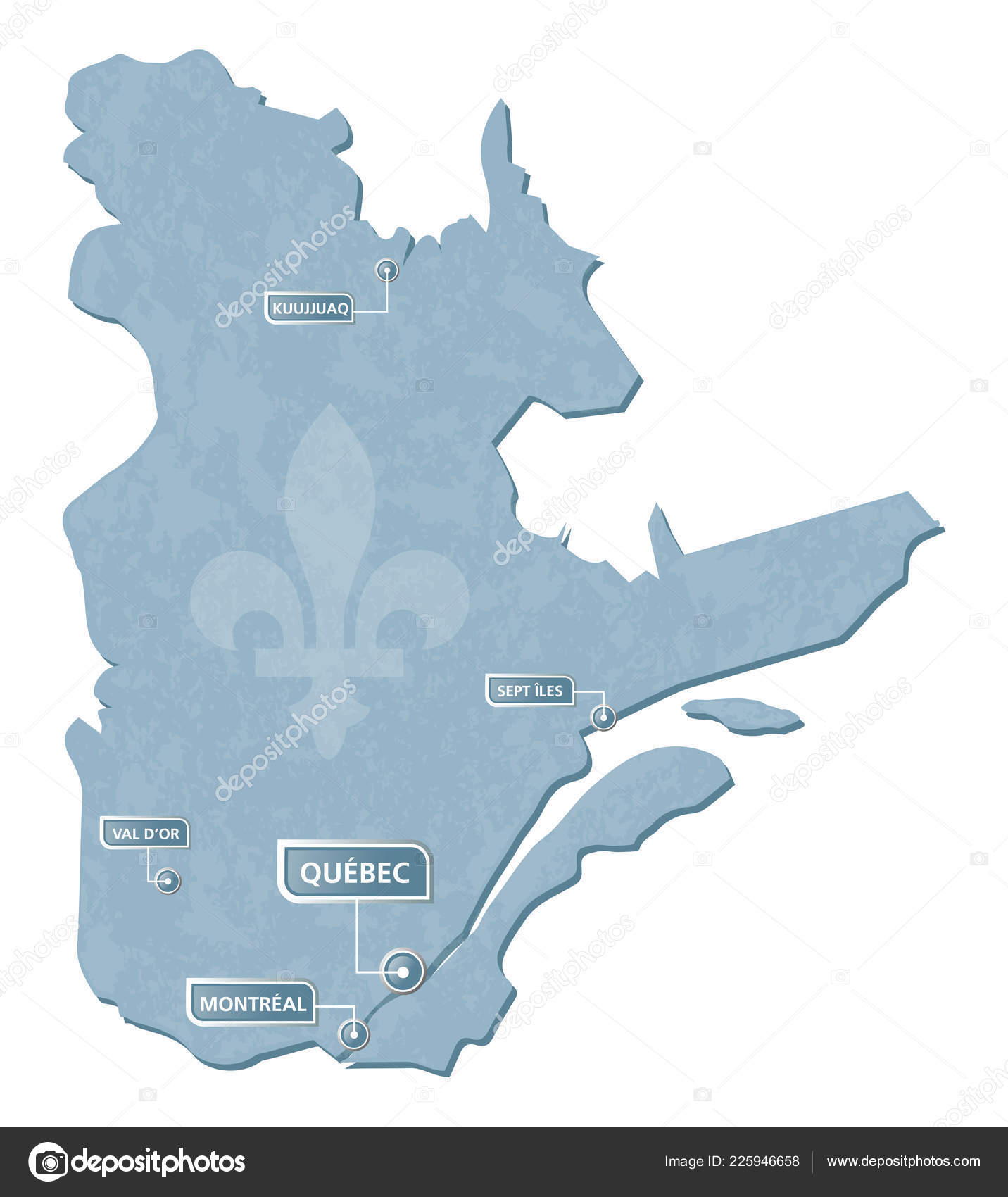 Quebec Map Cities Location Mark Illustration Vector Grunge