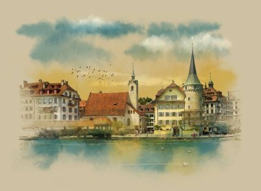 View old Lucerne, Switzerland. Watercolor sketch.