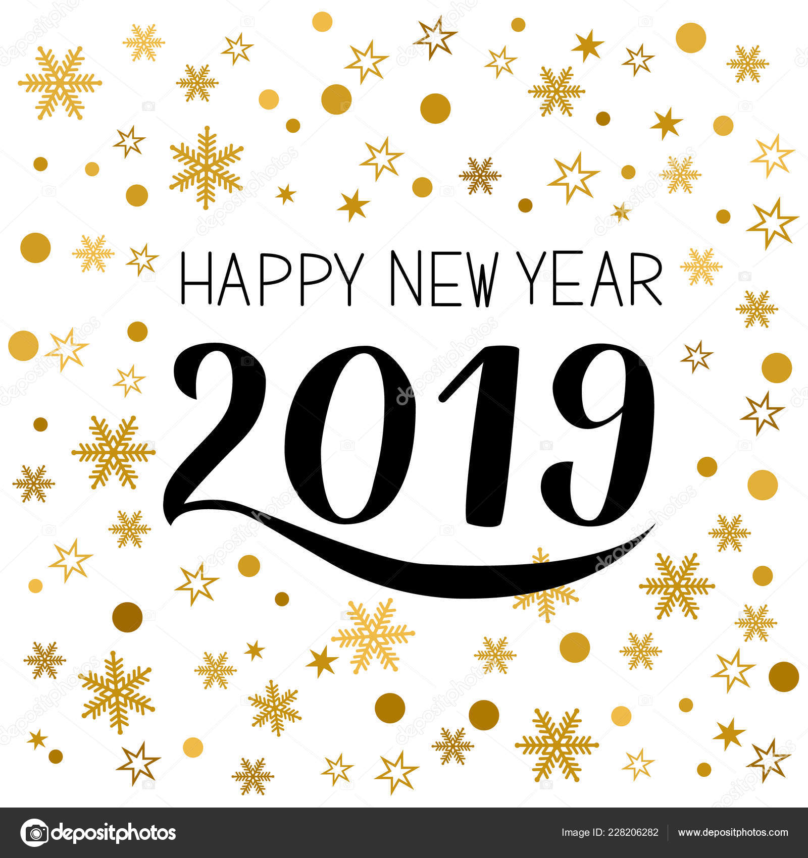 happy new year greeting card hand written numbers 2019 gold holidays pattern with snowflakes and dots typography poster easy to edit vector template for