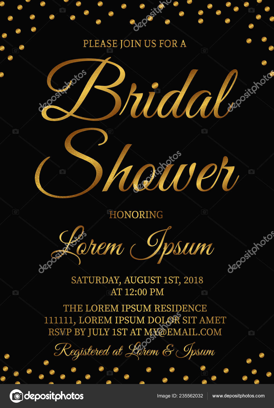 Bridal Shower Invitation Card Gold Confetti Bachelorette