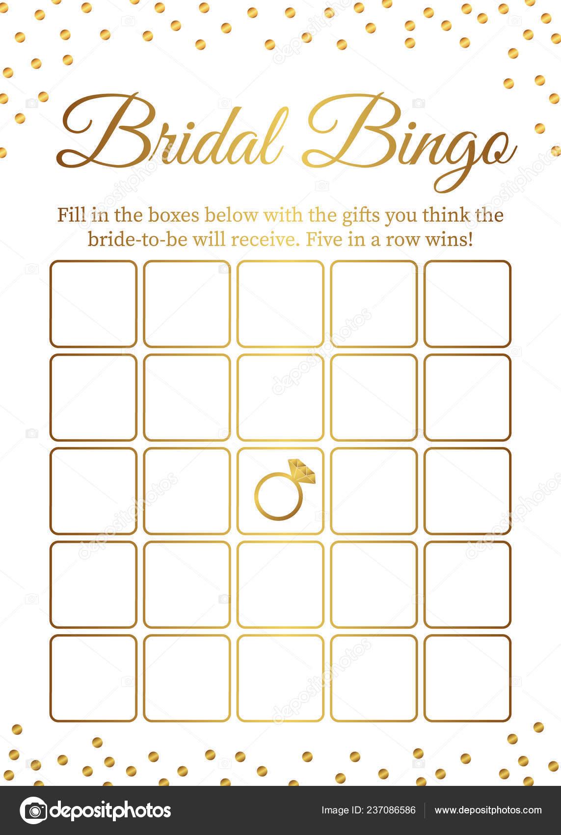 Bridal Bingo Card Template Bridal Shower Bingo Games Funny Activity
