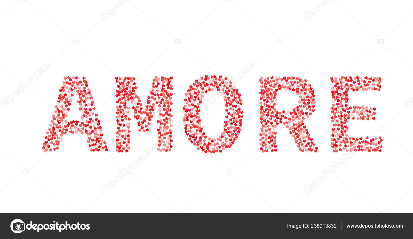 Word Amore Made Little Hearts Shades Red Pink Love Italian Stock Vector C Designergraphic84 238913832
