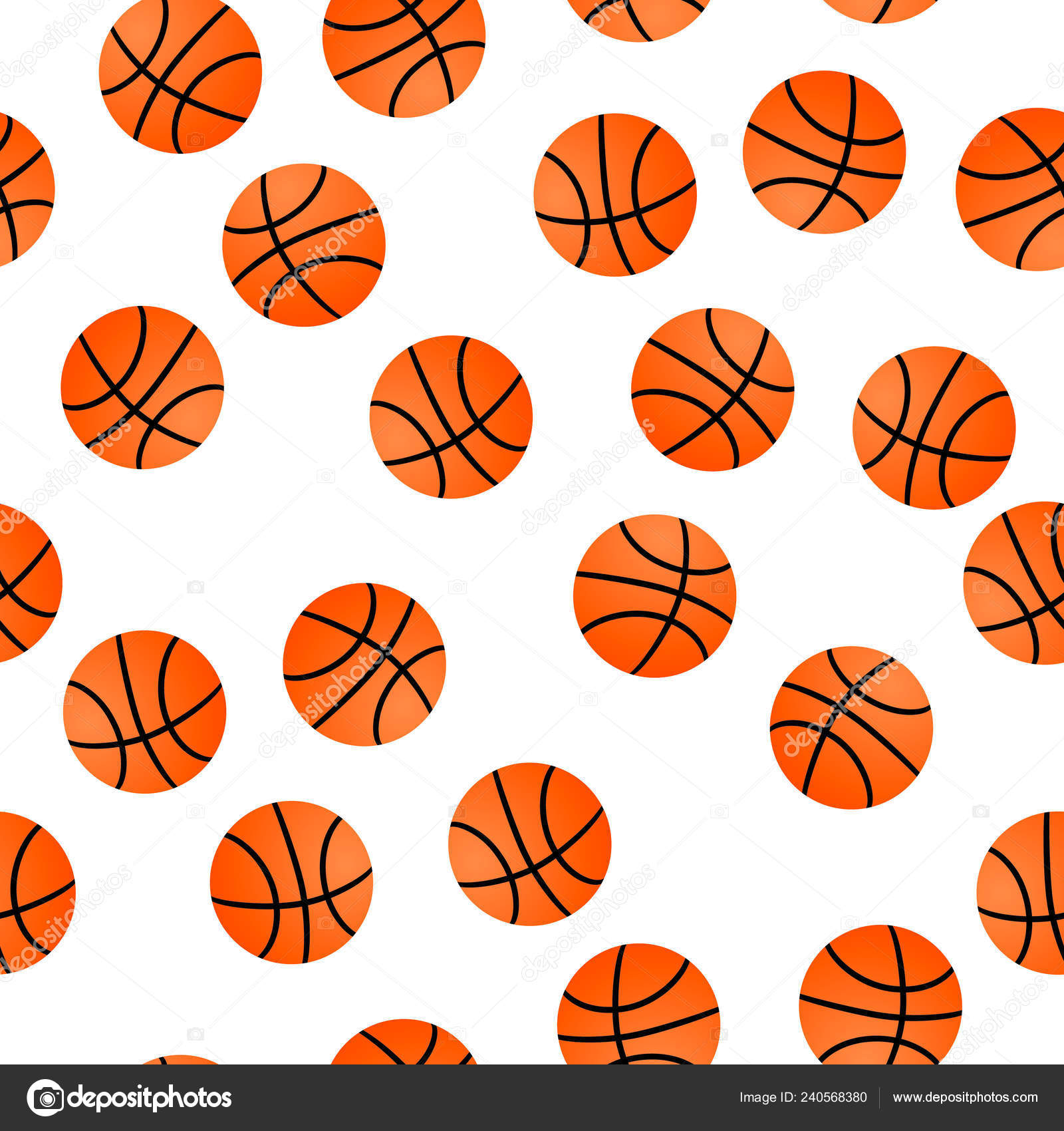Orange Basket Balls White Background Basketball Seamless Pattern Cartoon Sport Stock Vector C Designergraphic84 240568380