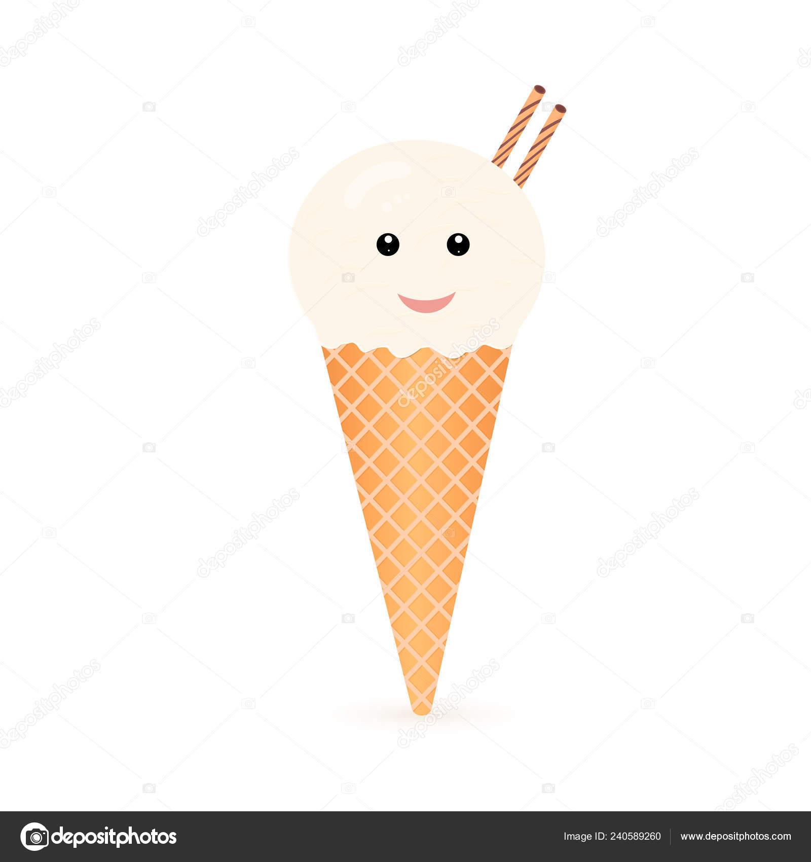 Dessin Animé Mignon Crème Glacée Boule Cône Glace Vanille