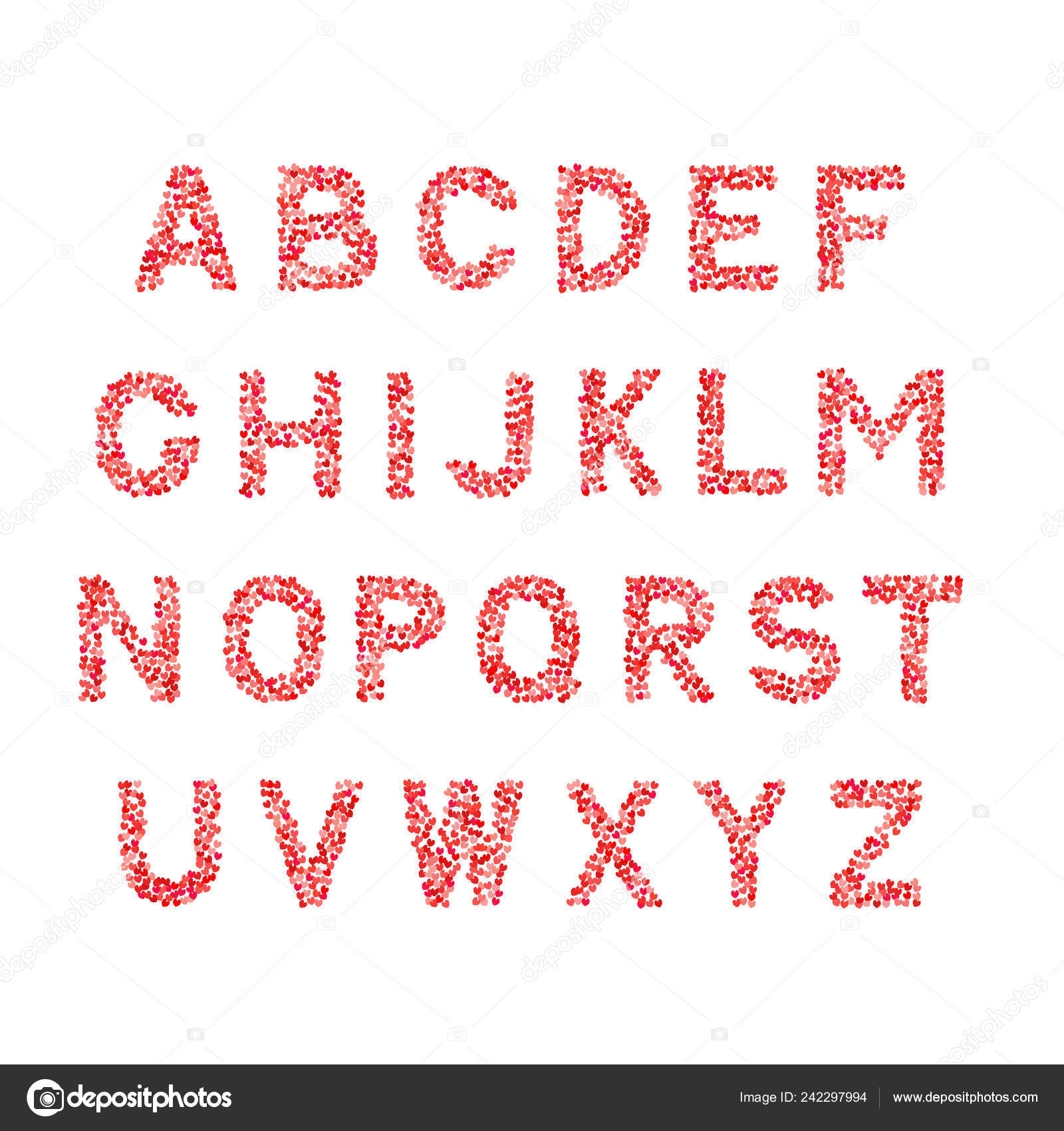 Vector Alphabet Letters Made Hearts Shades Red Pink Isolated White Vector Image By C Designergraphic84 Vector Stock 242297994