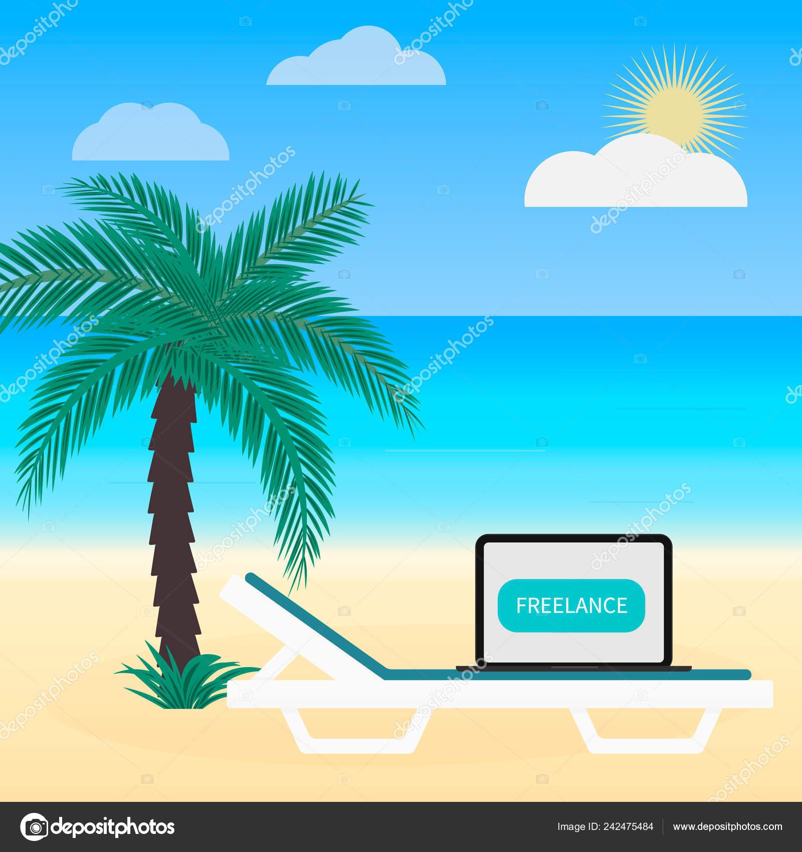 Freelance Work Vector Illustration Flat Style Laptop Sunbed Palm