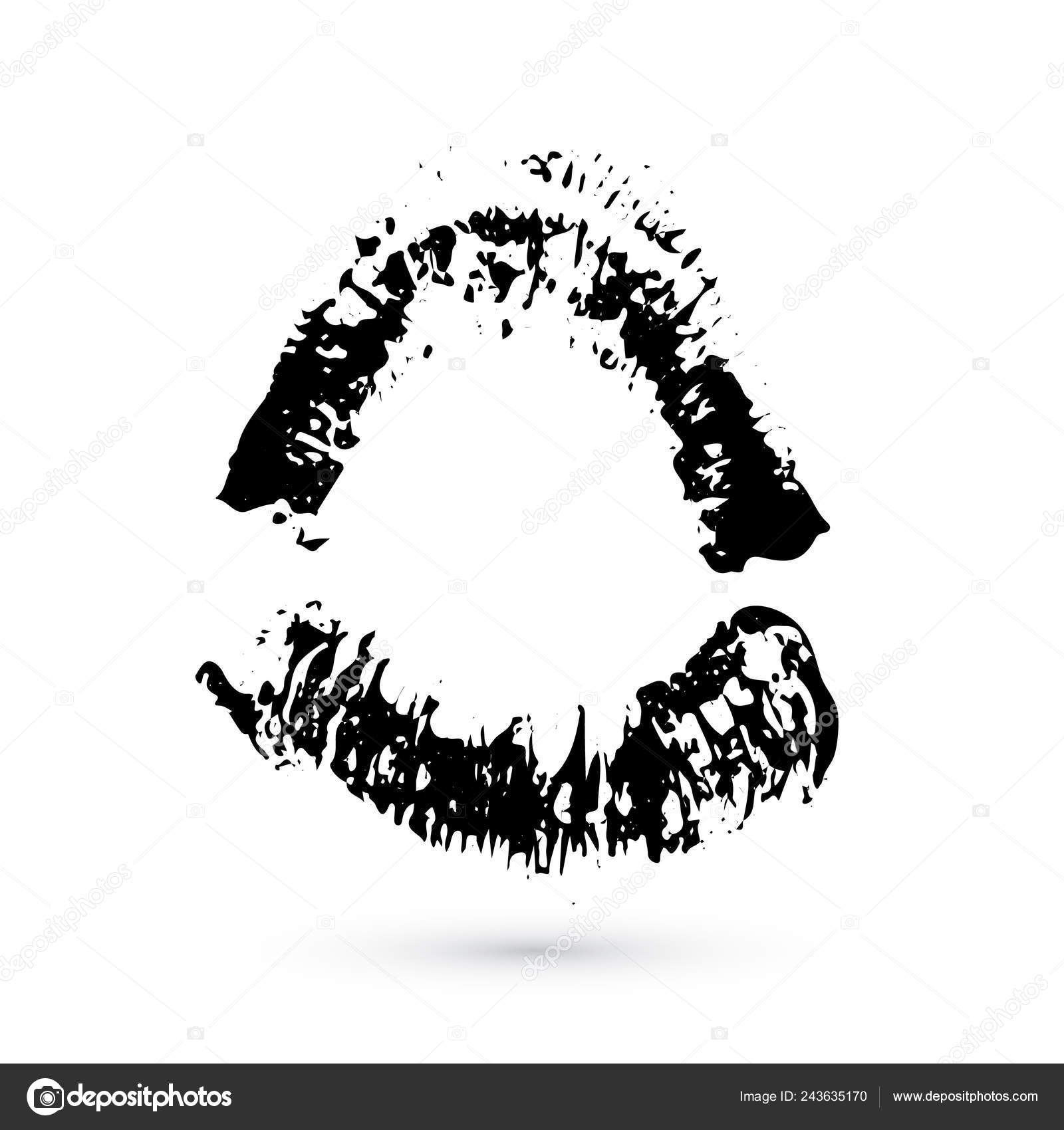 Black Lipstick Kiss White Background Imprint Open Mouth Valentines