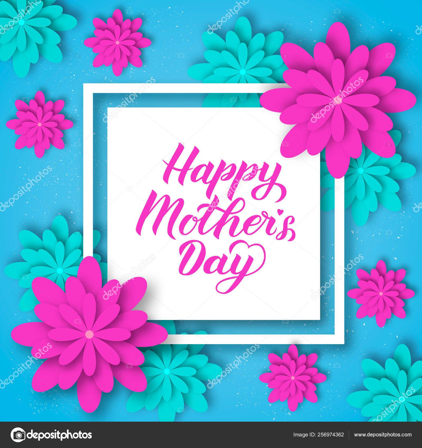 Feliz Letras De Caligrafia De Dia Das Mães Com Flores