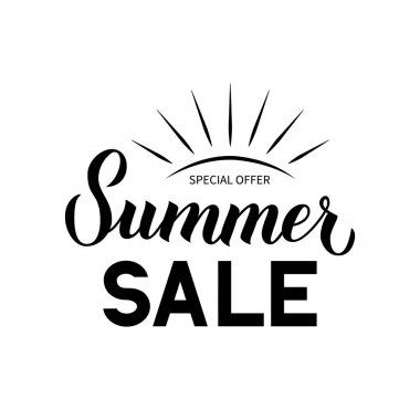 Summer Sale calligraphy hand lettering isolated on white. Discount promotion banner. Easy to edit vector template for advertising poster, flyer, card, tag, label, etc.