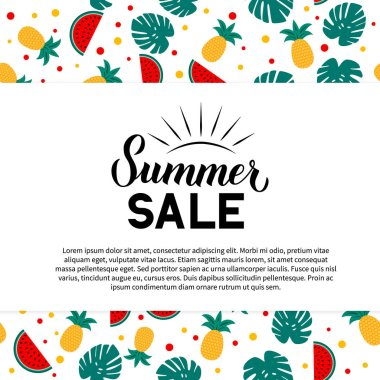 Summer Sale calligraphy hand lettering with watermelons, pineapples and palm leaves. Discount promotion banner. Easy to edit vector template for advertising poster, flyer, card, tag, label, etc.