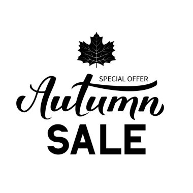 Autumn Sale calligraphy hand lettering with black maple leaf isolated on white. Seasonal discount promotion banner. Easy to edit vector template for advertising poster, flyer, card, tag, label, etc.