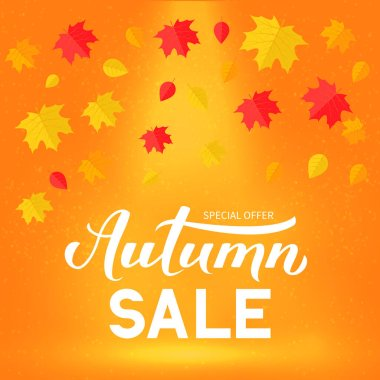 Autumn Sale calligraphy hand lettering with colorful fall leaves. Seasonal discount promotion banner. Easy to edit vector template for advertising poster, flyer, card, tag, label, etc.