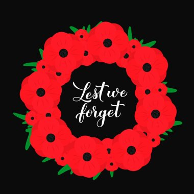 Lest we forget calligraphy hand lettering. Wreath of red poppy flowers symbol of Remembrance day. Holiday on November 11. Vector template for greeting card, typography poster, banner, flyer, sticker.