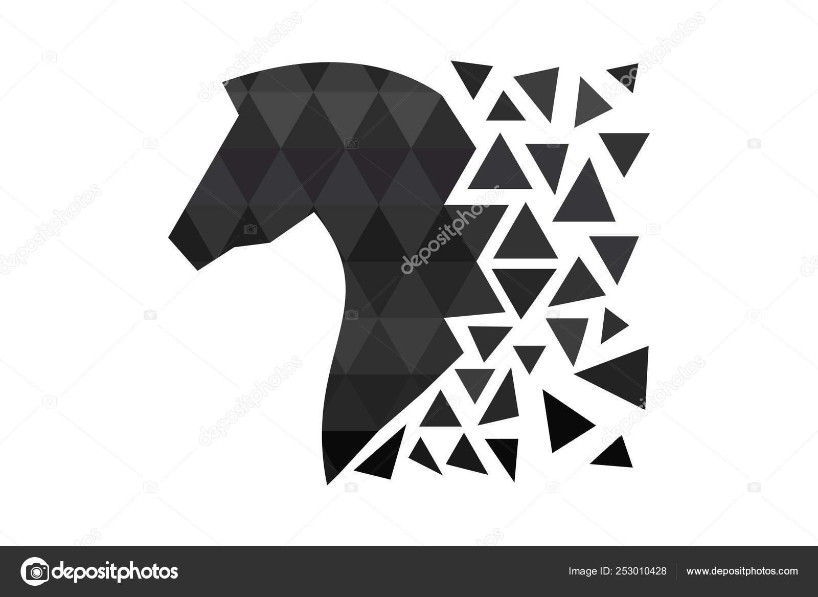 Dark Horse Silhouette Polygons Triangle Design Animal Polygons Horse Head Stock Vector C Art Food 253010428