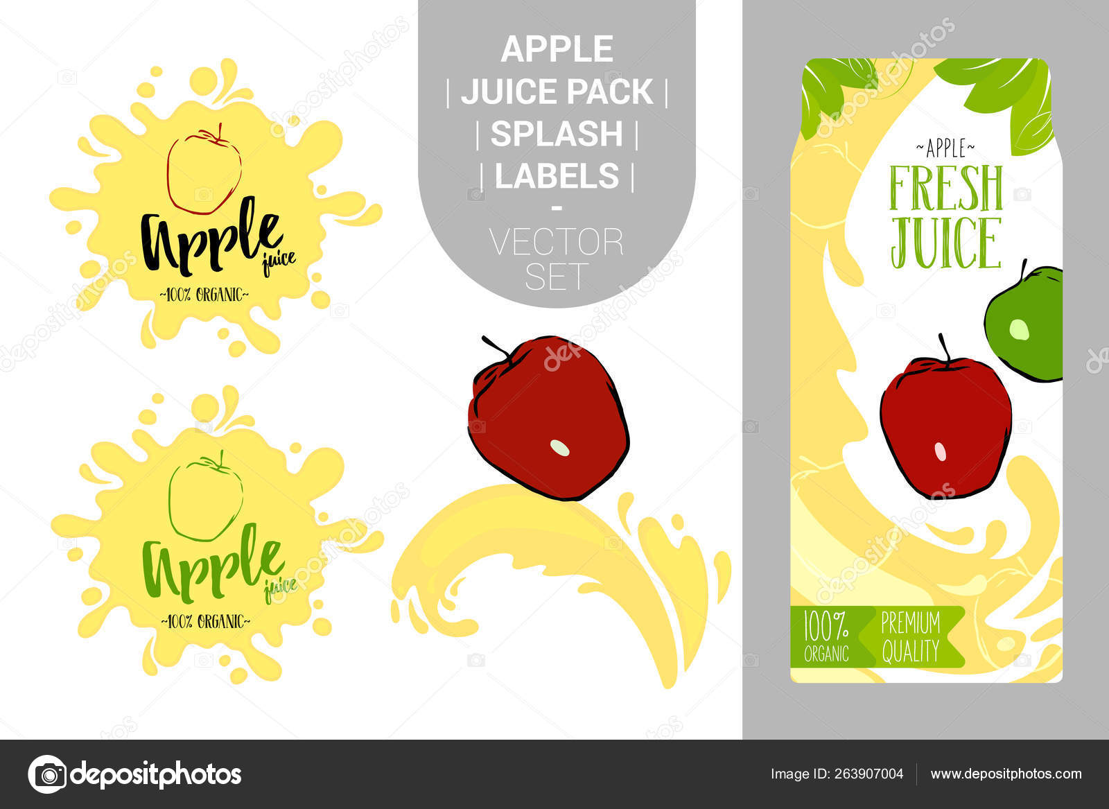 Cartoon Red Apple Juice Splash Fresh Juice Pack Organic