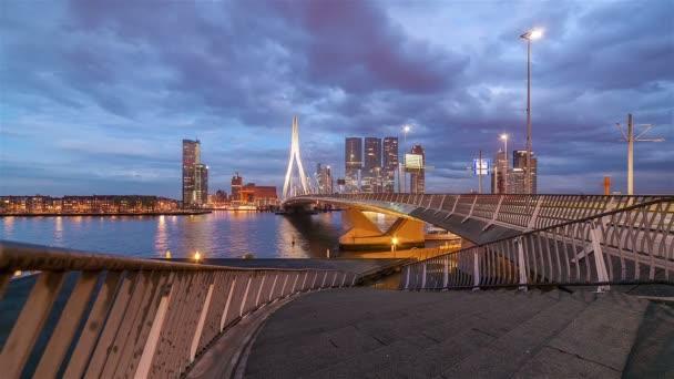 Futuristic Skyline and Traffic Dusk to Night
