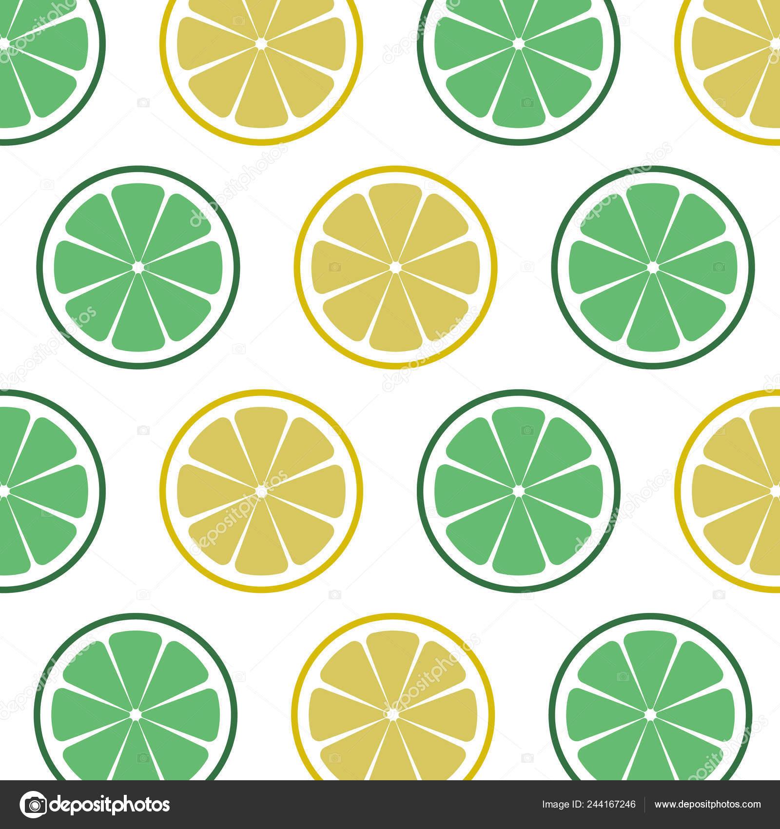 Lime Lemon Pattern Vintage Vector Illustration Template Package