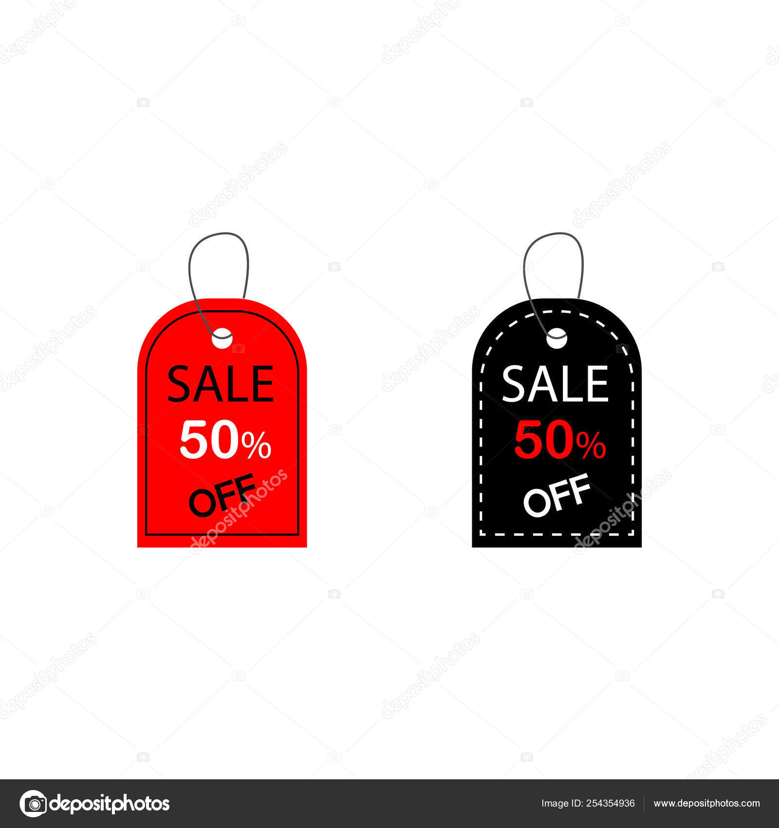 Set of promotion sale price tag label template with black and red