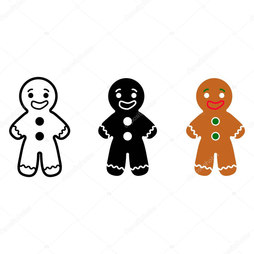 Vector illustration. set of gingerbread man cookies. line and flat black and colourful isolated on white background icon