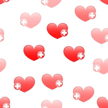 Vector heart sign with a red cross. Seamless Wallpaper pattern. The ability to stretch to any size in all directions without loss of quality.  Vector illustration.