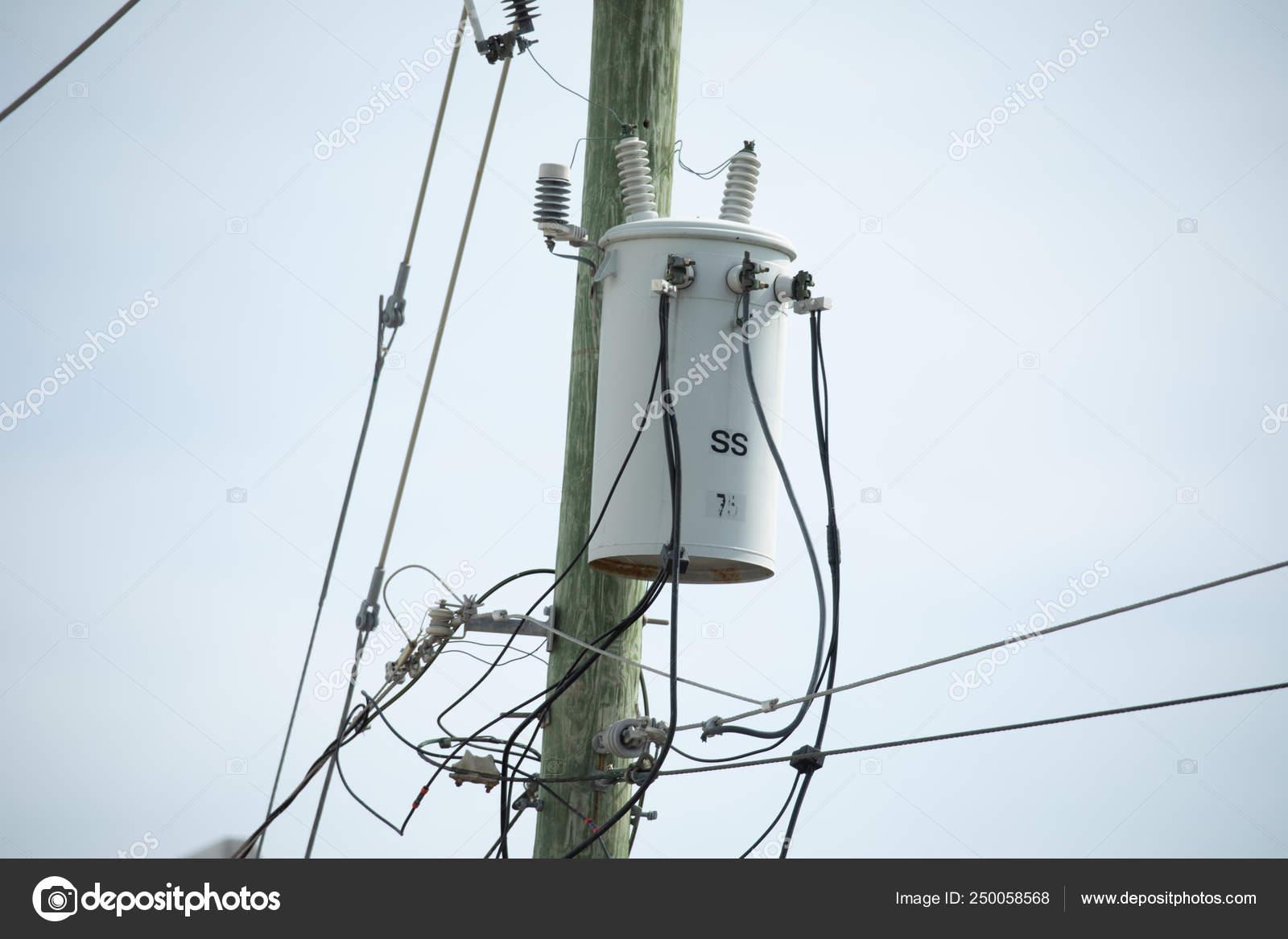 Electric Pole Transformer Wires Usa — Stock Photo © sergey