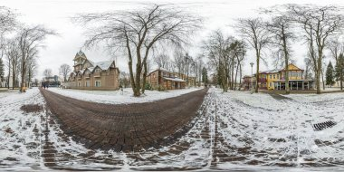 DRUSKENINKAI, LITVA - DECEMBER 2018: winter fairy tale full seamless spherical panorama 360 degrees angle view provincial town in equirectangular projection, ready VR AR virtual reality content