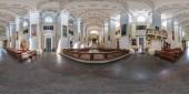 Vilnius, Litva - září, 2018: plné hladké sférické panoráma 360 o 180 stupňů úhel pohledu interiéru katolické církve ve stylu klasicismu v ekvirektangulární projekce, připravený obsah Ar Vr