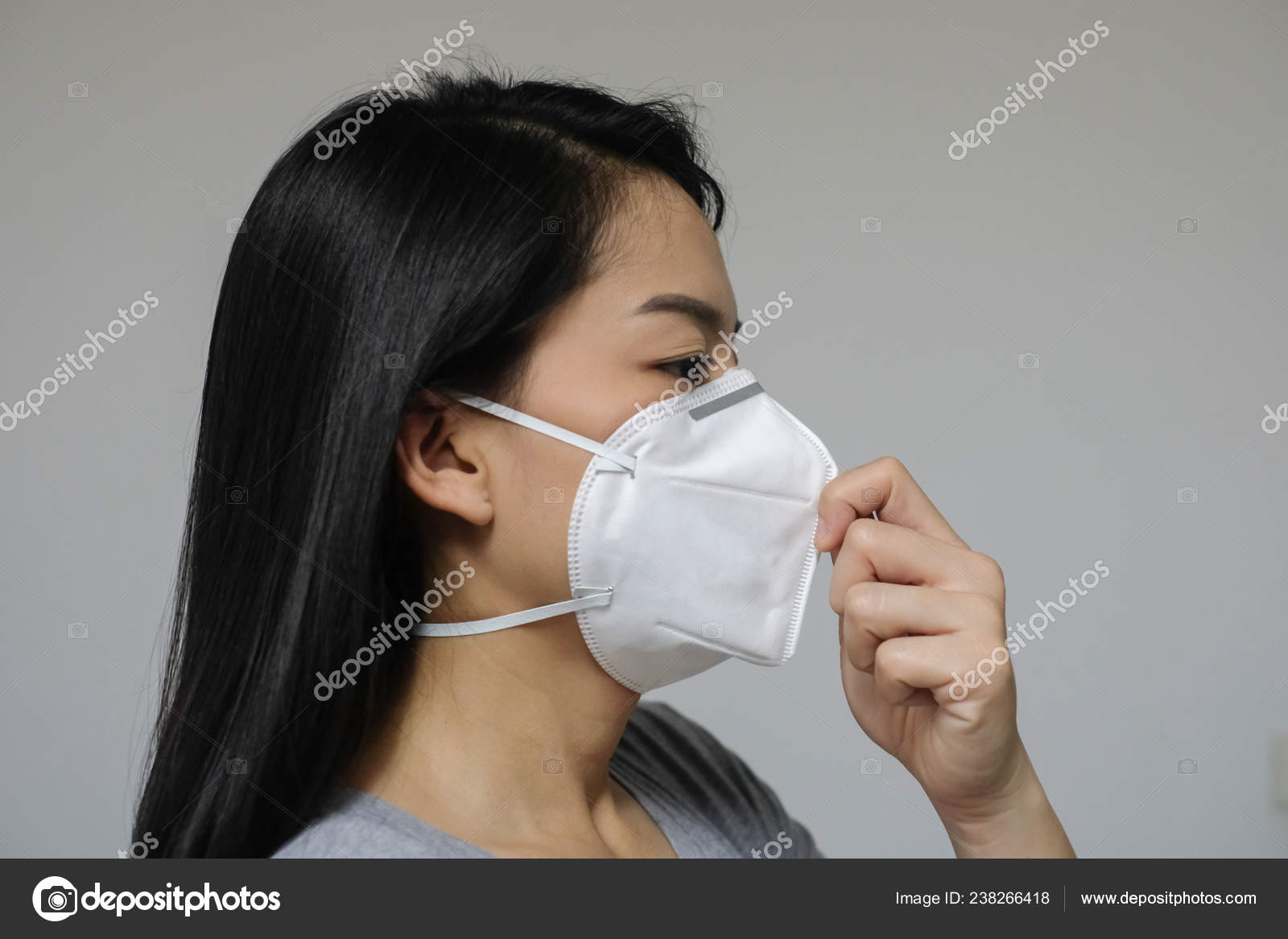 Mask Woman Pollution Have N95 City Face Wearing Air Because