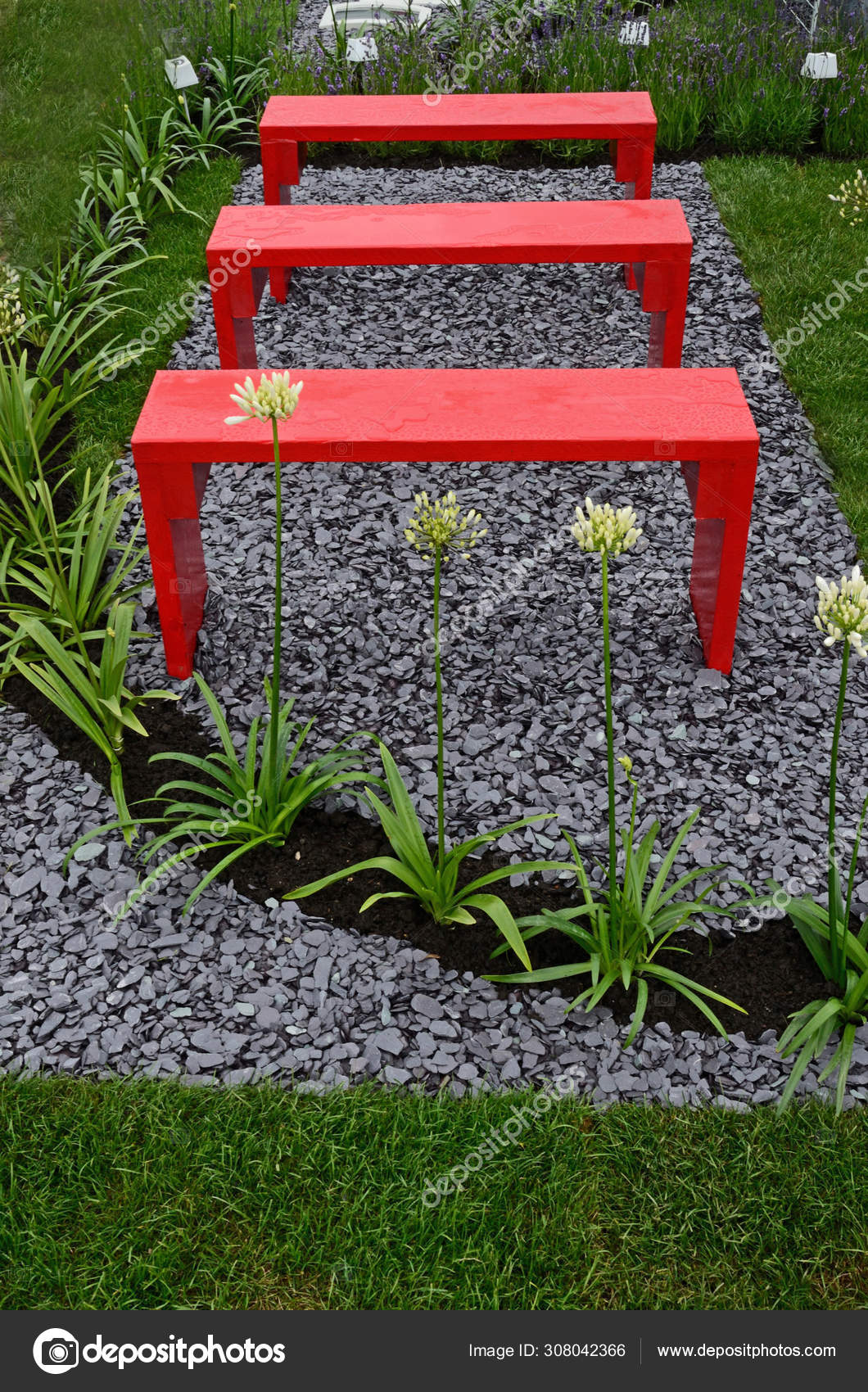 A Garden Design With Picture Showing Bright Red Benches With