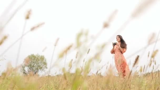Beautiful brunette with a camera. Dress develops in the wind. Slow motion. Green grass. HD