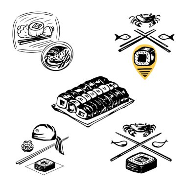 Set of icons to indicate the work of the chef and traditional Japanese cuisine, rice dish with seafood, as well as the concept of the symbol of the logo WI - FI, sushi bar icons