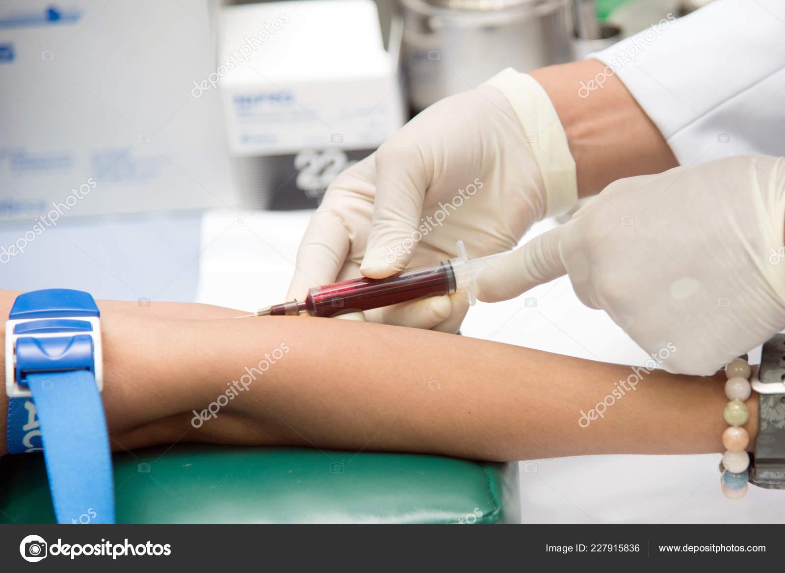 Blood Sample Vein Nurse Taking Real Blood Samples Analysis Vein