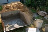 Mischen eines Zements im Tank zum Aufbringen von Baumaterial.