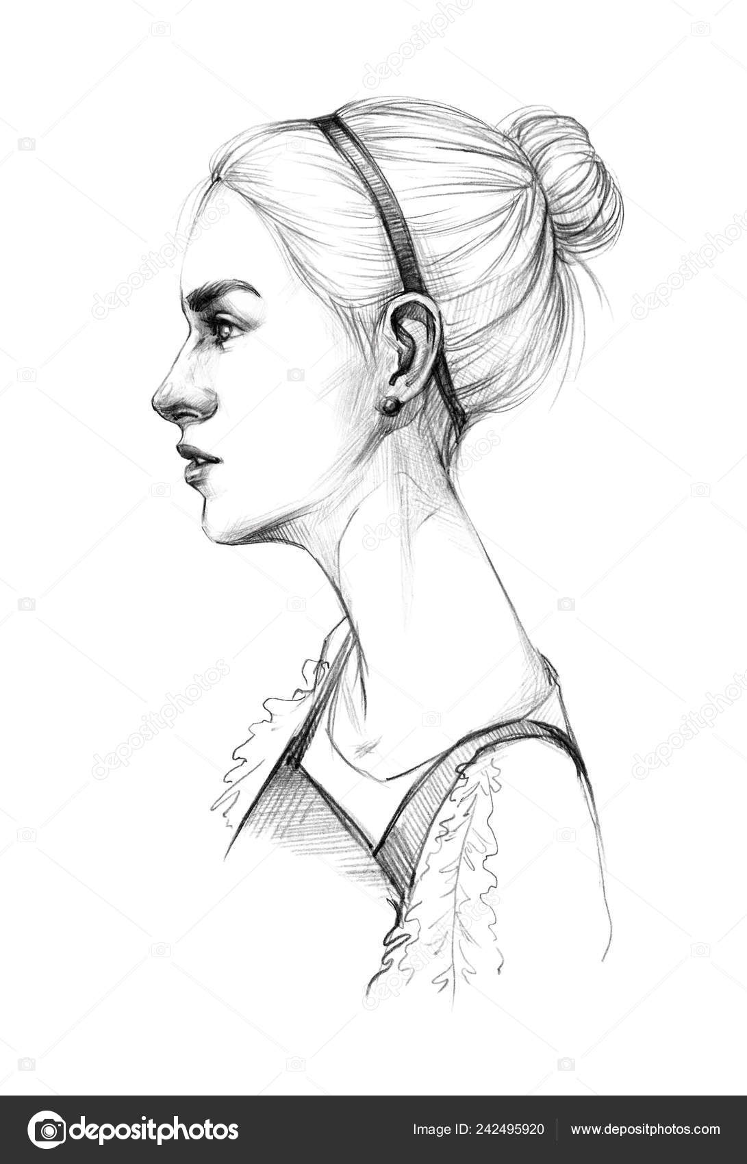 Portrait sketch young beautiful girl sarafan neat hairstyle quick sketch stock photo