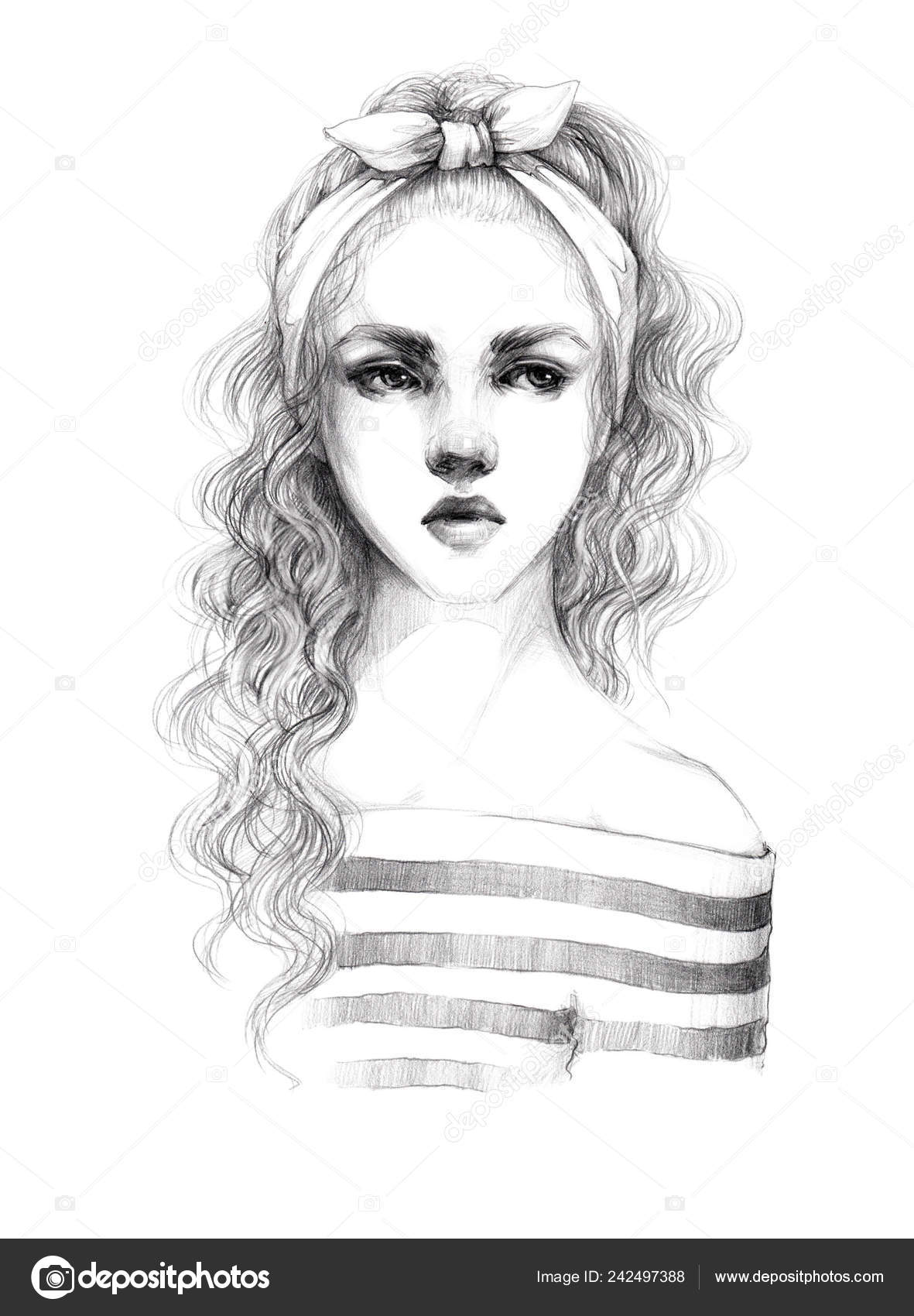 Portrait Sketch Young Beautiful Girl Long Curly Hair Striped Blouse Stock Photo C Chepurkoekaterina 242497388