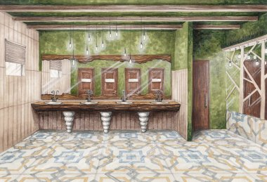 interior sketch female toilet room with large mirrors wooden decor and tiles with ornament drawing markers