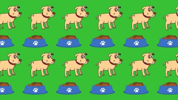 In the pet store and pet department a dog and a food bowl on a green background - animation