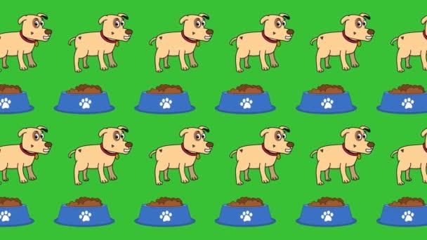 in der Zoohandlung und Tierabteilung ein Hund und eine Futterschale auf grünem Hintergrund - Animation