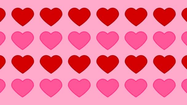 pink and red hearts pattern on a pink background - animation
