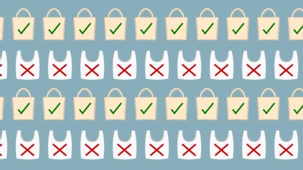 Animáció a műanyag és az ökológiai táskák, vagy szövet, a szennyezés ellen, és a környezetvédelem-animáció