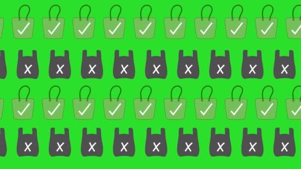 Animace plastových a ekologických vaků nebo tkanin, proti znečištění a k ochraně životního prostředí na zelené pozadí-animace