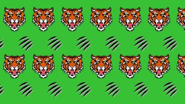 Animace tygrů a ostrých klepet na zelené pozadí-animace