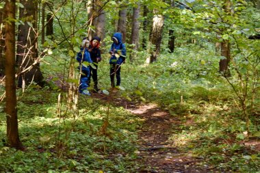 Group of children in the forest. Walk through the autumn forest