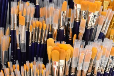 assortment of brushes for painting.  The tool of the artist.