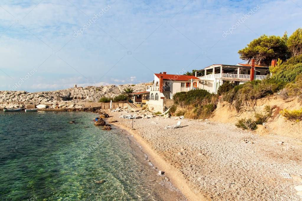 CROATIA, VELO ZARACE, September 11, 2018:Cove Velo Zarace on the Croatian island of Hvar. A place for a peaceful holiday.
