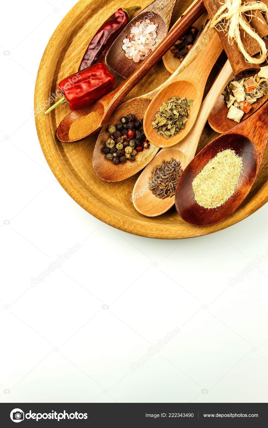 Different Spice Types Wooden Spoon Sale Spices Spices White